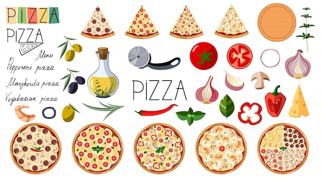 Grande conjunto de pizza. ingredientes diferentes tradicionais. pizza de logotipo. pizza italiana inteira com fatias: margarita, frutos do mar, vegetariano, calabresa.