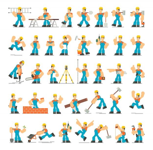 Grande conjunto de poses de caracteres do construtor, gestos e ações. design plano de ilustração.