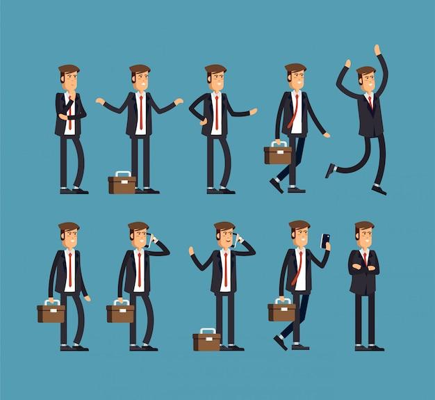 Grande conjunto de poses de personagem de homem de negócios