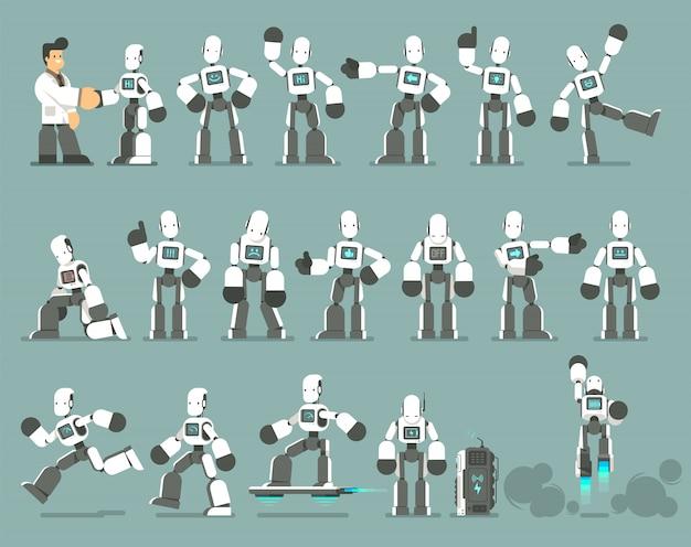 Grande conjunto de poses de personagens robô humanóide, gestos e ações. design plano de ilustração.