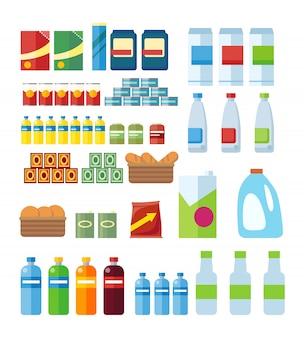 Grande conjunto de produtos da loja no apartamento