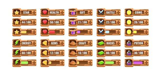 Grande conjunto de progresso de madeira engraçado, modelo de painel adicional para elementos de recursos de interface do usuário