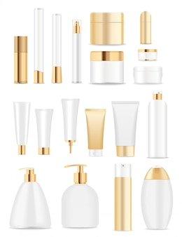Grande conjunto de recipientes de cosméticos brancos e dourados