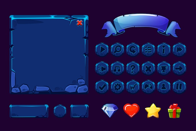 Grande conjunto de recursos de pedra azul neon dos desenhos animados e botões para jogo de interface do usuário, ícones de gui