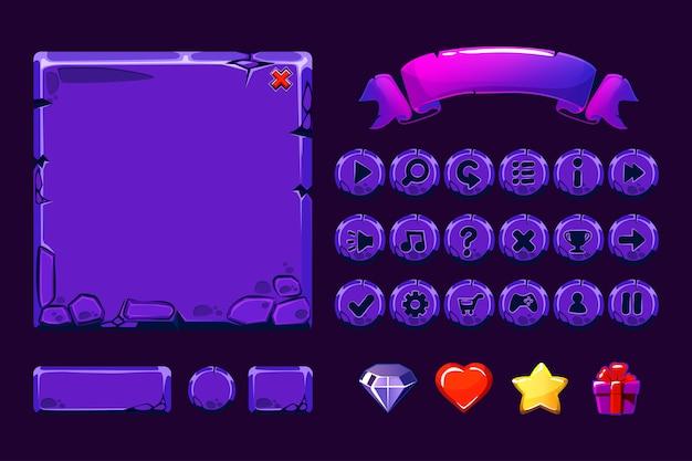 Grande conjunto de recursos de pedra roxa de néon dos desenhos animados e botões para jogo de interface do usuário, ícones de gui