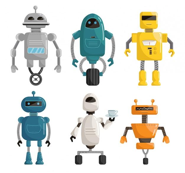 Grande conjunto de robôs cartoon ilustração vetorial