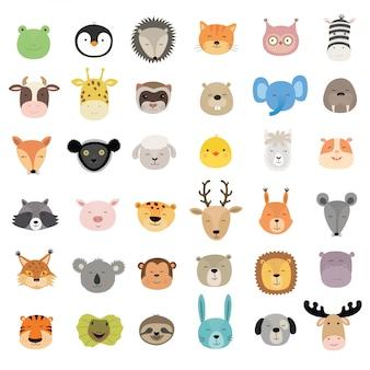 Grande conjunto de rostos de animais fofos.