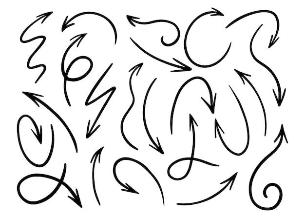 Grande conjunto de setas desenhadas à mão