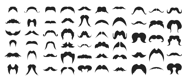 Grande conjunto de silhuetas negras de bigodes