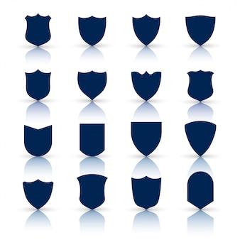 Grande conjunto de símbolos de escudo e ícones