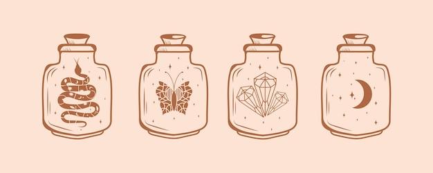 Grande conjunto de símbolos mágicos e de bruxas com estrelas de borboletas de cristal e garrafas de cristal mágico de cobra da lua