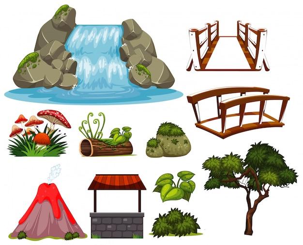 Grande conjunto de tema de jardinagem com cachoeira e plantas