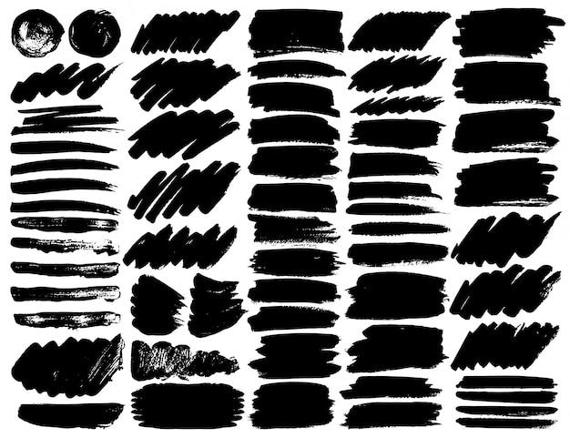 Grande conjunto de traçados de pincel.