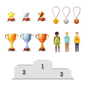 Grande conjunto de vencedores de prêmios com medalhas, copos e estrelas