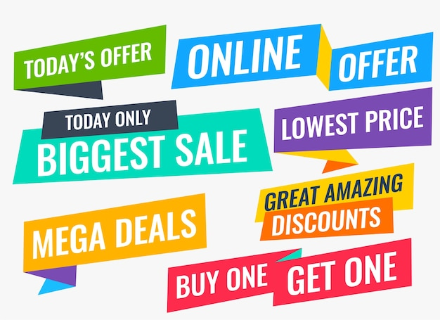 Grande conjunto de venda e oferta de estilo simples