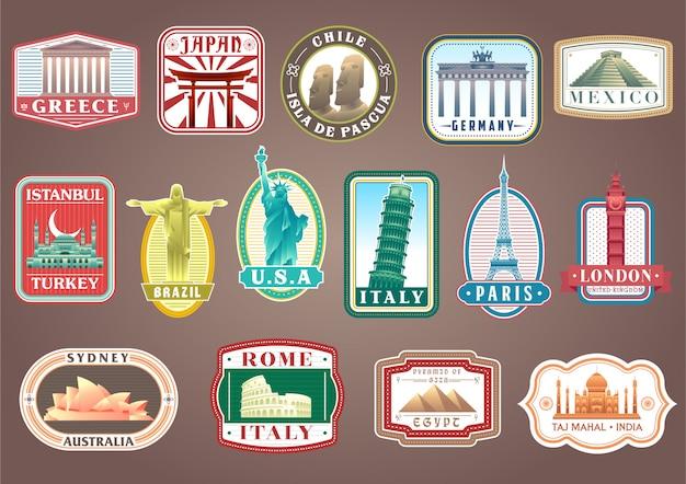 Grande conjunto de vetor viajando adesivos com monumentos famosos do mundo