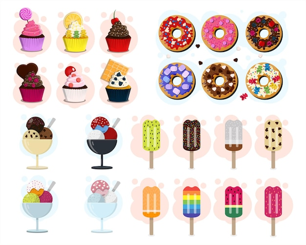 Grande conjunto de vetores de doces diferentes tipos de donuts e cupcakes de sorvete flat design cartoon