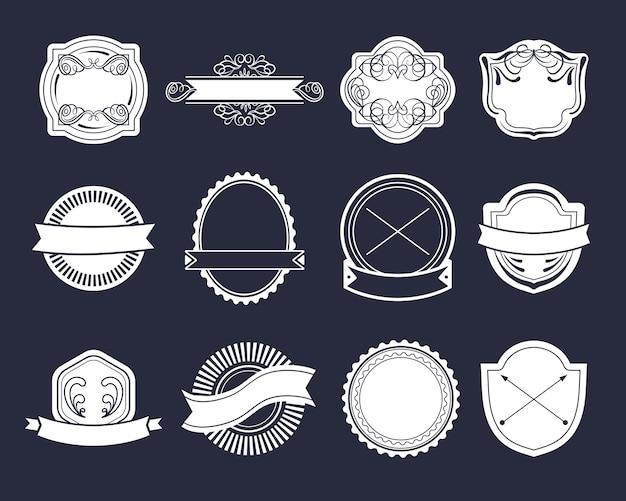 Grande conjunto de vetores de rótulos vintage, elementos de logotipo hipster, fitas, modelo de logotipo.