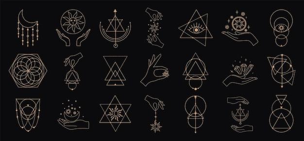 Grande conjunto de vetores de símbolos mágicos e astrológicos. silhuetas de sinais místicos. estética esotérica.