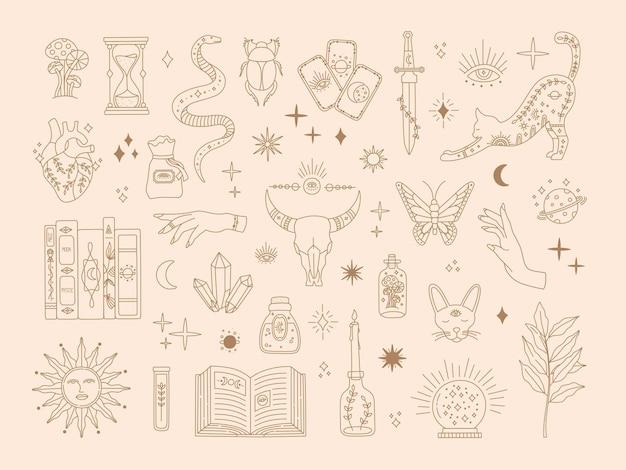 Grande conjunto sagrado de feitiçaria, símbolos mágicos místicos para tatuagem flash, coleção de arte de linha dourada de mistério desenhada à mão, elementos de estilo boho moderno, sol, estrelas, olhos, poção. ícones do vetor e ilustração do logotipo