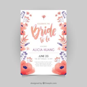 Grande convite bachelorette com flores vermelhas e azuis