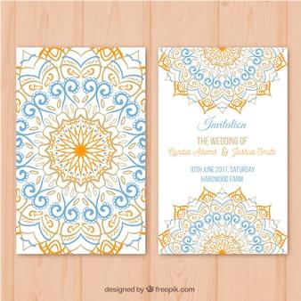 Grande convite de casamento com mandala colorida