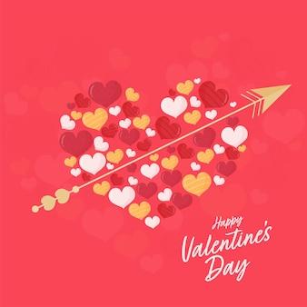 Grande coração feito de pequenos corações com seta dourada sobre fundo vermelho para feliz dia dos namorados conceito.