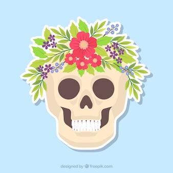Grande crânio achatado com flores decorativas