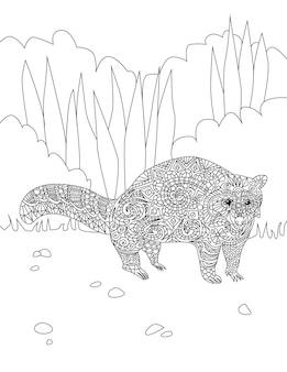 Grande desenho de linha adorável guaxinim, esperando por muito tempo neste próprio na floresta. desenho de linha de vida selvagem ficar em um tempo sozinho dentro de wildwoods.