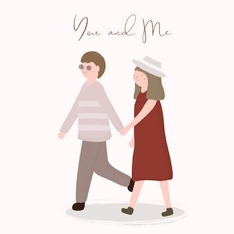 Grande desenho isolado bonito romântico feliz jovens casais apaixonados, o conceito de dia dos namorados, ilustração