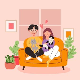 Grande desenho isolado de menina e menino apaixonados, casal compartilhando e cuidando do amor com o gatinho, ilustração 3d