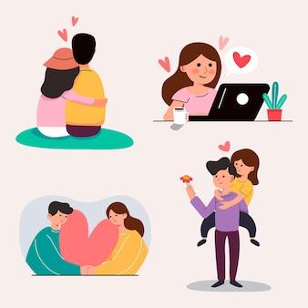 Grande desenho isolado de menina e menino apaixonados, casal compartilhando e cuidando do amor, ilustração 3d