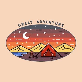 Grande design de emblema monoline de aventura