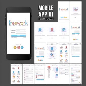 Grande design do aplicativo móvel com elementos coloridos