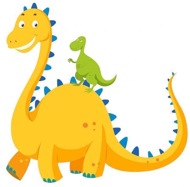 Grande dinossauro e pequeno dinossauro