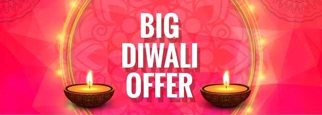 Grande diwali oferta colorida banner design ilustração