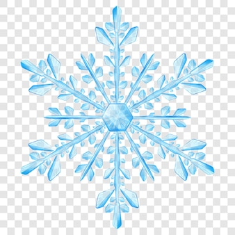 Grande e complexo floco de neve de natal translúcido nas cores azul claro para uso em fundo claro