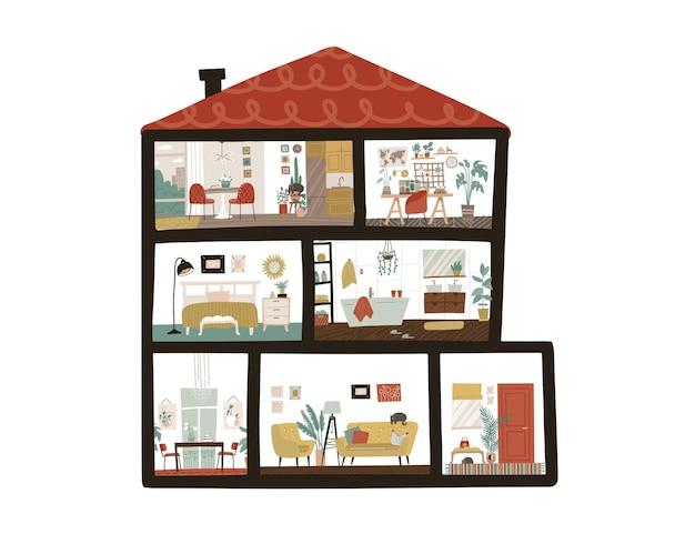 Grande e detalhado interior moderno de casa de bonecas