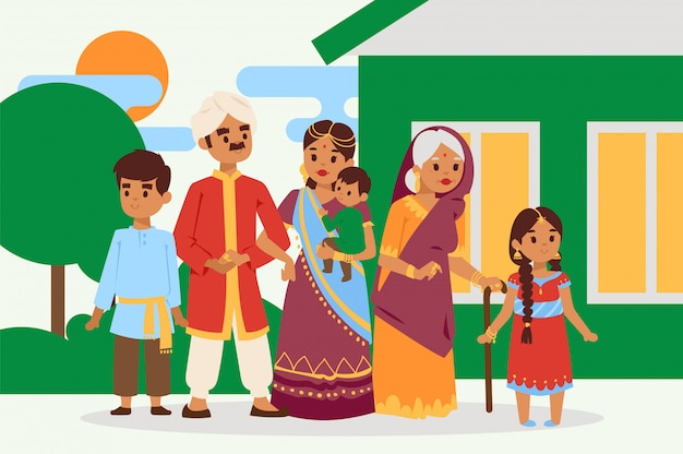 Grande e feliz família indiana em ilustração vetorial de vestido nacional. pais, avó e filhos personagens de desenhos animados.