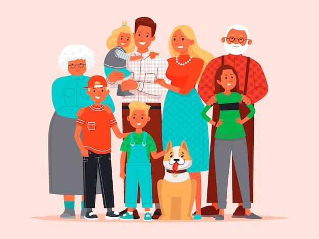 Grande e feliz família. pai, mãe, filhos, avó e avô, cão de estimação juntos