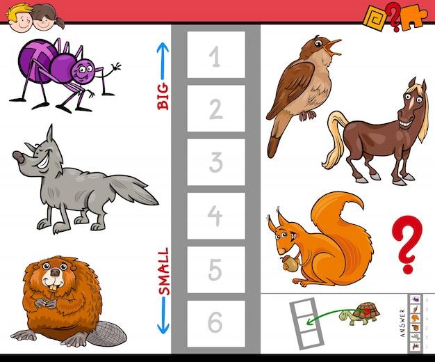 Grande e pequeno animal cartoon jogo de atividade