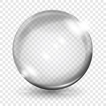 Grande esfera cinza translúcida com brilhos e sombras em fundo transparente. transparência apenas em formato vetorial