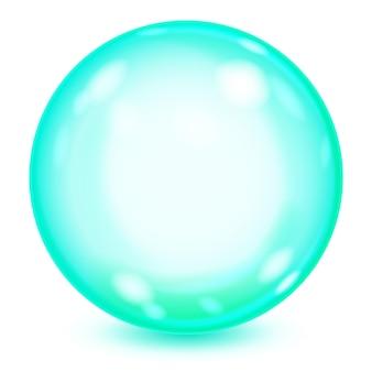 Grande esfera de vidro opaco turquesa com reflexos e sombra no fundo branco