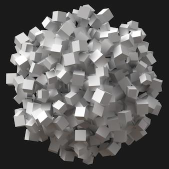 Grande esfera formada por cubos aleatórios