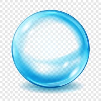 Grande esfera translúcida de azul claro com brilhos e sombras em fundo transparente. transparência apenas em formato vetorial