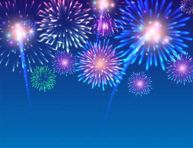 Grande exibição de fogos de artifício - ilustração vetorial.
