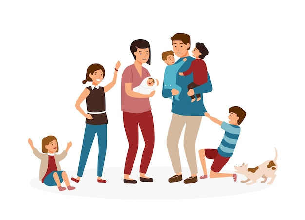 Grande familia com muitos filhos