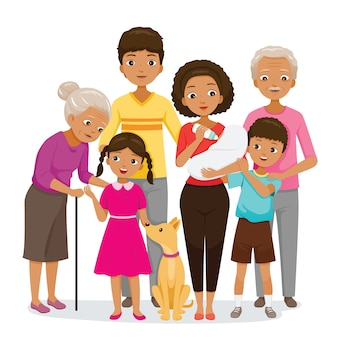Grande família com pele escura felizes juntos