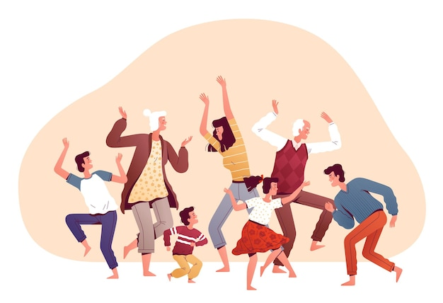 Grande família dançando junta