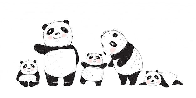 Grande família de pandas pais e filhos